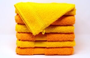 A pile of brightly coloured towels